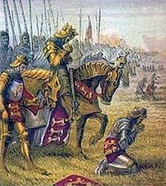 King Henry V prays with his army before the Battle of Agincourt.