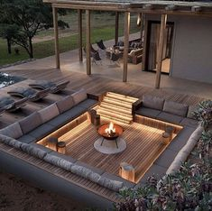 Backyard Patio Designs, Backyard Landscaping, Design Jardin, Garden Design, Dream Home Design, House Design, Garden Furniture, Outdoor Furniture Sets, Sunken Patio