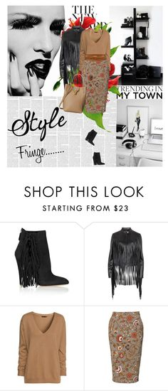 """""""Fringe"""" by amimcqueen ❤ liked on Polyvore featuring Hush, Brian Atwood, DKNY, H&M, By Malene Birger and Oscar de la Renta"""