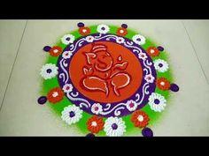 Easy Ganesha Rangoli Design Ganesh Chaturti special kolam by Creative Hands Rangoli Ideas, Simple Rangoli, Ganesha Rangoli, Special Rangoli, Beautiful Rangoli Designs, Our Solar System, My Images, Creative Art, Kids Rugs