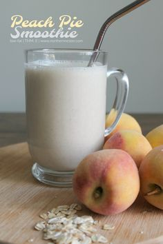 This Peach Pie Smoothie is a THM E that's packed with protein! A wonderful way to use up fresh or frozen peaches and enjoy a drink of healthy carbs.