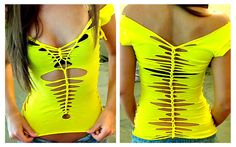 Yellow off-the-shoulder shredded top woven into a piece of wearable art; July 2012