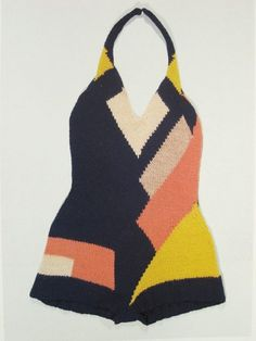 Futurism motif swimsuit, 1920s, Sonia Delaunay, knitted wool, France.