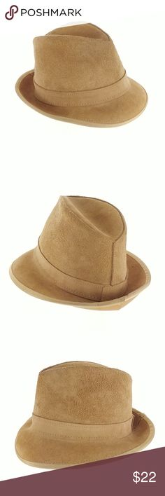 9a7a5f89dd3 Henchel Skullys Tan Leather Fedora Hat Mens Small Overall good condition.  Inside has light staining