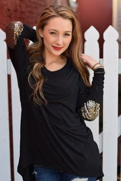 Sparkle Elbow Patch Long-Sleeve