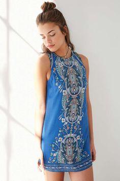 Ecote Guinevere Blue Backless Dress