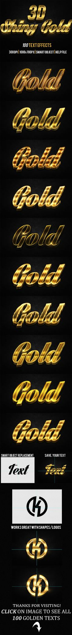 100 3D Shiny Gold Text Effects Download at: http://goo.gl/IpMkpC