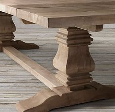 Salvaged Wood Trestle Rectangular Extension Dining Table In Natural - Salvaged wood trestle rectangular extension dining table