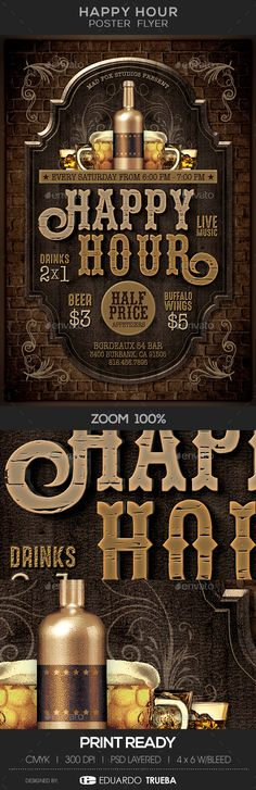 Happy Hour Poster Flyer — Photoshop PSD #party #happy hour flyer • Download ➝ https://graphicriver.net/item/happy-hour-poster-flyer/19191406?ref=pxcr