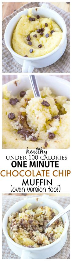 Healthy One Minute Chocolate Chip Muffin Recipe- Just 1 minute until you have this fluffy, moist and delicious muffin which is less than 100 calories- An oven version too! {gluten free, paleo, vegan option}-thebigmansworld.com