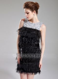 Cocktail Dresses - $145.99 - Sheath/Column Scoop Neck Short/Mini Charmeuse Feather Cocktail Dress With Beading Sequins (016008551) http://jjshouse.com/Sheath-Column-Scoop-Neck-Short-Mini-Charmeuse-Feather-Cocktail-Dress-With-Beading-Sequins-016008551-g8551