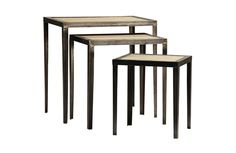 Set of sleek nesting tables with solid elm top with a grey wash finish and metal frame. Dimensions: 22x16x22 Share this...