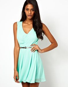 There's that mint again! So loving this color. Simple but cute! Elise Ryan Lace Back Belted Wrap Skater Dress