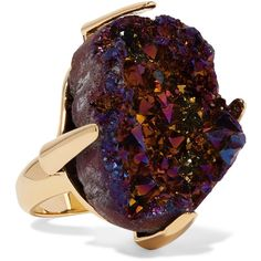 Christopher Kane Gold-tone stone ring (800 BRL) ❤ liked on Polyvore featuring jewelry, rings, purple, stone ring, purple jewelry, stone jewellery, stone jewelry and purple cocktail ring