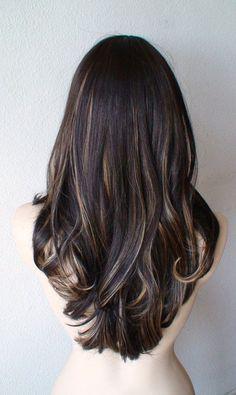 Valentines Special // Dark Brown / strawberry blonde / vanilla blonde wig. Long wavy hair wig. Heat resistant wig.: