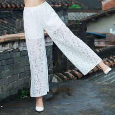 2016 spring summer new fashion women wide leg pants lace palazzo pants(white/black)