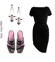 Gal Halfon bombshell dress, Lucca shoes, Drio's earrings // galhalfon.com