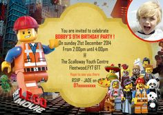 Personalised Birthday Party Invitations/ Thank you card The Lego Movie X 8