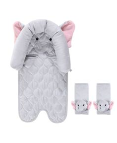 Hudson Baby Car Seat Insert & Strap Covers, Pretty Elephant, Size: One size, Gray Baby Head Support, Grey Elephant, Elephant Nursery, Girl Nursery, Soft And Gentle, Cute Cars, Baby Safety, Baby Gear, Baby Love
