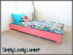 Platform Toddler Bed   Do It Yourself Home Projects from Ana White.  Another idea for the twins'  beds.
