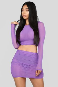 Available In Purple 2 Piece Set Top Long Sleeve Double Mesh Stretch Skirt Double Mesh Stretch Acrylic Spandex Shop this piece at Fashion Nova. Mesh Long Sleeve, Long Sleeve Crop Top, Fashion Line, Girl Fashion, Womens Fashion, Fashion Sets, Skirt Outfits, Cute Outfits, Peplum Dresses