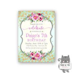 Girl's 7th Birthday Invitations / Gold Glitter Confetti /