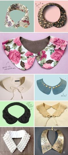cute diy collar ideas for women and kids : i love collars. great ideas for diys and cardigans. These will make any outfit pop with a little something special. Turn your boring outfit into something memorable. Diy Clothing, Sewing Clothes, Dress Patterns, Sewing Patterns, Fashion Patterns, Sewing Collars, Diy Collier, Diy Vetement, Creation Couture