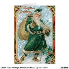 Green Santa Vintage Merry Christmas Card