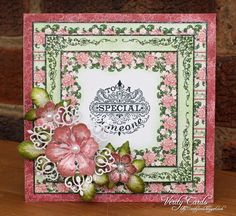 Card made using Arianna Blooms papers and flowers from Heartfelt Creations. Made by Liz Walker.