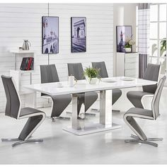 Monton Modern Extendable Dining Table In White High Gloss With 6 Gia Chairs Grey Faux Leather Features