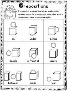 Practice prepositions of place with these cute activities.