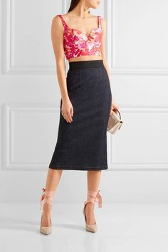 Michael Kors Collection - Floral-jacquard Bustier Top - Bright pink - US8