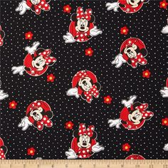 Disney Minnie Traditional Minnie & Flowers Dots Red from @fabricdotcom  Designed by Disney and licensed to Springs Creative Products, this cotton print is perfect for quilting, apparel and home decor accents. Colors include black, white, red, and yellow. Due to licensing restrictions, this item can only be shipped to USA, Puerto Rico, and Canada.