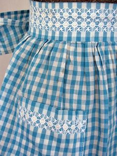 SALE Half Apron Chicken Scratch Gingham Vintage by RedHenStudios