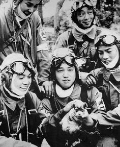 Corporal Yukio Araki (with puppy) with fellow pilots of Japanese Army 72nd Shinbu Squadron, Bansei Airfield, Kagoshima Prefecture, Japan, 26 May 1945. When Araki was home in Apr 1945, he left letters for his family, to be opened upon the news of his death. The letter to his parents noted: Please find pleasure in your desire for my loyalty to the emperor and devotion to parents. I have no regrets. I just go forward on my path.