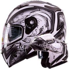 0dc534f1 IV2 'DEMON SAMURAI' Dual Visor Modular Flip-Up Motorcycle Adventure Touring  Helmet [