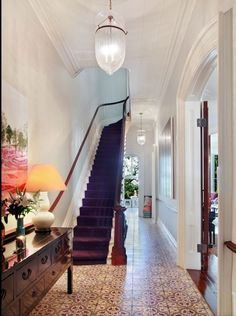 My future staircase in my brownstone. Entry Hallway, Tile Entryway, Entry Tile, Grand Entryway, Entry Stairs, Entrance Foyer, Interior Decorating, Interior Design, My New Room