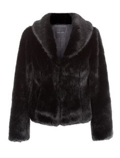 on sale bought Black Faux Fur Shawl Collar Coat  | New Look
