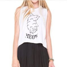 Brandy Melville muscle tee Cat muscle tee from brandy Melville. One size fits all Brandy Melville Tops Muscle Tees