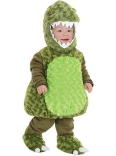 Underwraps Baby's T-Rex Belly, Green, Large: We're not extinct. These adorable little t-rex costumes will stomp there way into your heart. Complete with a two tone bodice, fully detailed hood with soft teeth and matching show covers with dine toes. T Rex Costume Kids, Pikachu Costume Kids, T Rex Halloween Costume, Pokemon Costumes, Toddler Costumes, Halloween Fancy Dress, Baby Costumes, Cute Halloween, Adult Costumes