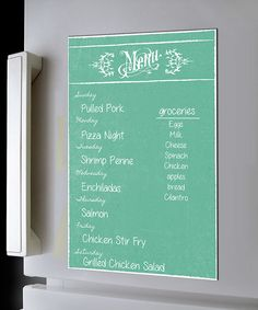 No one will wonder what's for dinner again thanks to this dry-erase menu magnet! When the week's over, simply wipe away the old entrées of the day and replace them with next week's fare.