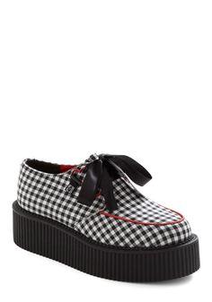 Gingham It Up Flatform - Red, White, Checkered / Gingham, Rockabilly, Black, Trim, Pinup
