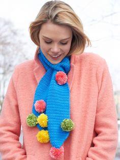 Pompom Scarf | Yarn | Free Knitting Patterns | Crochet Patterns | Yarnspirations