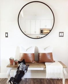 This pup is just as excited as we are that the Hub mirror is back in stock. Cheap Cushions, Cheap Cushion Covers, Oversized Mirror, Pup, Ideas, Furniture, Design, Home Decor, Big Mirrors