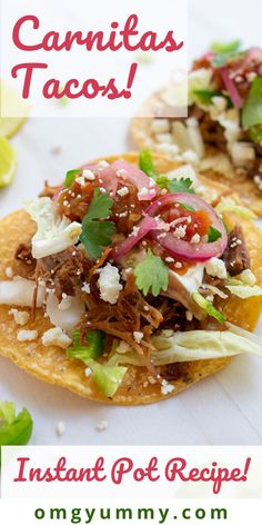 Instant Pot Carnitas – tacos for a crowd or your family. So quick and easy in the pressure cooker but if you don't have one, try my slow cooker version! Authentic Mexican Recipes, Mexican Food Recipes, Ethnic Recipes, Instant Pot Pressure Cooker, Pressure Cooker Recipes, Slow Cooker, Tostadas, Enchiladas, Burritos