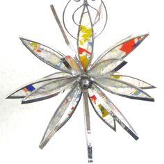 Confetti Blast - Medium 3D Stained Glass Flower Burst - Home Garden Decor Suncatcher Abstract Petals Yard Art Hanging Decorative. $42.00, via Etsy.