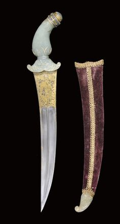 A JADE HILTED DAGGER WITH DAMASCENED BLADE, INDIA, 19TH CENTURY AND LATER