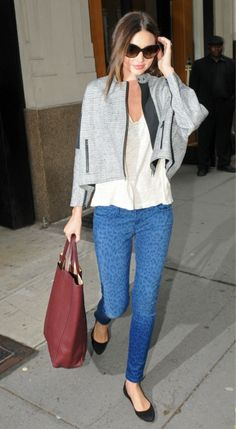 Miranda Similar look : CAbi spring '13 Ruby jean, scoop tee, shrunken pea coat or vintage spring '12 shawl hoodie