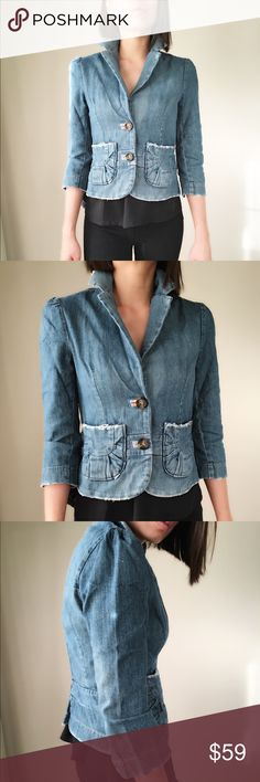 "Fit Denim jacket Urban outfitters LUX urban outfitters distress constructed denim jacket. Made in USA.pockets and two button front. Collar and detailing on button hole and distressed detailing pocket trim and pleated slot. Size Shoulder 13.5"" length 21"" bust 16.5"" sleeve 18"". Lux Jackets & Coats Jean Jackets"
