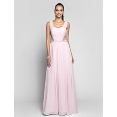Sheath/Column Straps Sweetheart Floor-length Chiffon And Tulle Evening Dress (568345) – USD $ 109.79